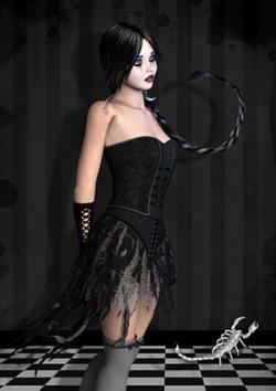 Femme scorpienne en noir