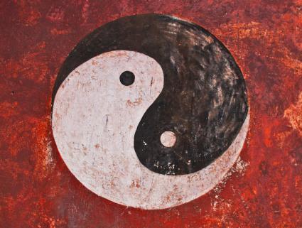 Symbole Yin Yang peint sur le mur du temple, Chine