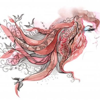 Artistic drawing of woman with ribbons and birds in her hair