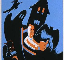 Poster for the WPA Statewide Library Project, showing a boy reading a book, surrounded by a bat, ghost, witch, and other images of Halloween.