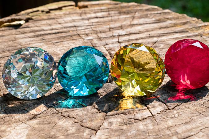 Beautiful Diamonds in a log outdoors