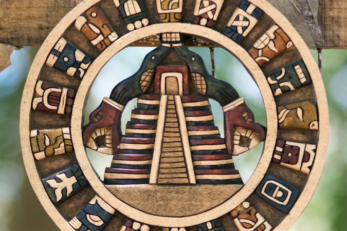 Wooden Mayan trinket