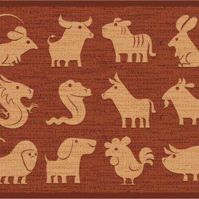 Chinese horoscope icons in earthtones
