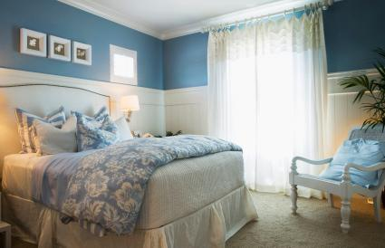 Chambre bleue confortable