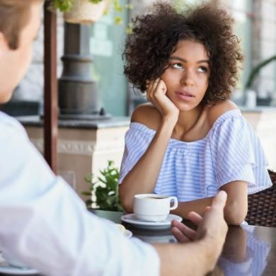 woman disinterested with date