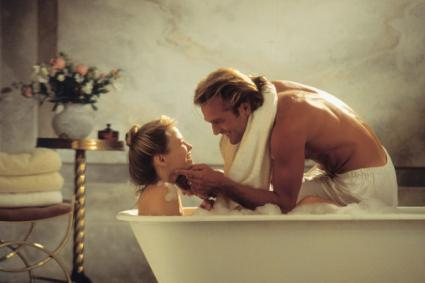 couple bathing together