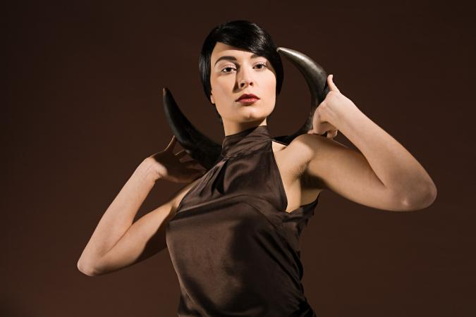 Woman with animal horns