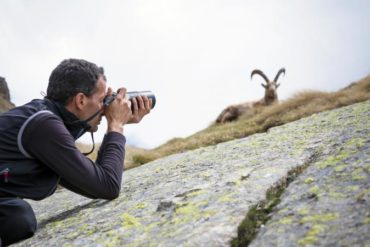 Man photographing goat