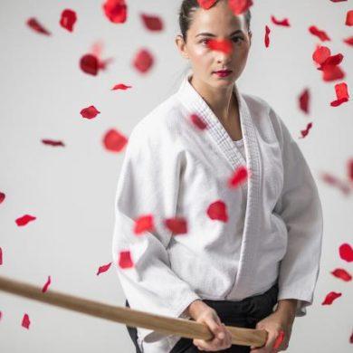 Aikido Warrior Holding Bokken Sword