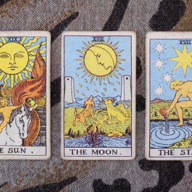 Sun, moon, star tarot cards