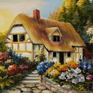 Oil painting of fairy house