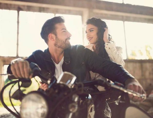 Woman and Man on motorcycle