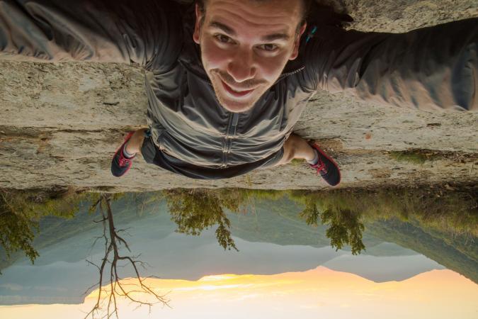 Taking a selfie upside down